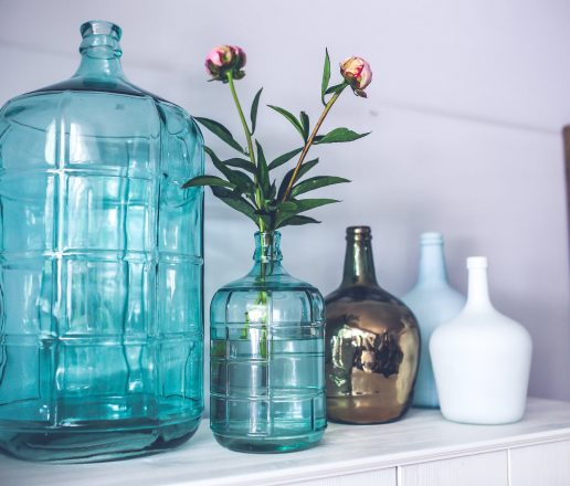 Blue vases with flowers